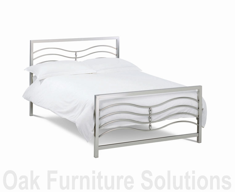 Satin Nickel Bedstead - 135cm - Double and
