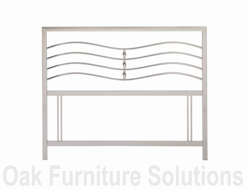 Satin Nickel Headboard - 135cm - Double &