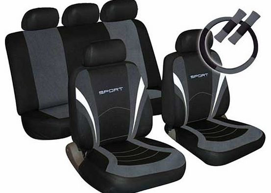 Sport Seat Cover. Steering Wheel and Seat Belt