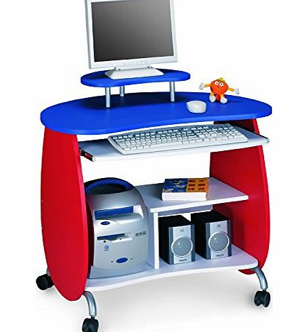 SixBros. Childrens Desk - Computer Desk PC Workstation Red-White-Blue - Q-203A/75