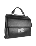 Women` Black Genuine Italian Leather Large Briefcase