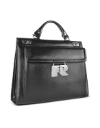 Women` Front Pocket Black Genuine Italian Leather Briefcase