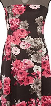 Roman Originals - Womens Floral Printed Skater Dress Pink - Vintage 1950 Designer Evening Stylish - Bridesmaid Bridal Guest Prom Bodycon Bandage - Short Detail Clothes - Knee Length - Ladies Dresses -
