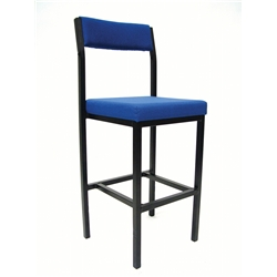 Royal Blue High Stool with Back Rest.