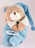 Blue teddy bear pull down music box - Brahms Lullaby tune