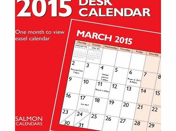 Salmon 2015 easel style desk calendar - one month to view