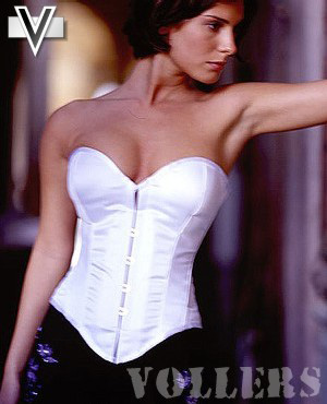 Samantha Lingerie White Satin Padded Vollers Corset