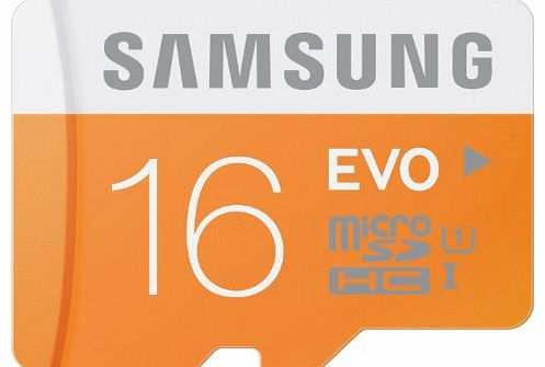 Samsung Memory 16GB Evo MicroSDHC UHS-I Grade 1 Class 10 Memory Card with SD Adapter