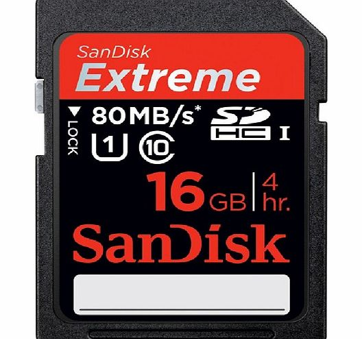 Sandisk Extreme SDHC UHS-I memory card - 16 GB - Class 10