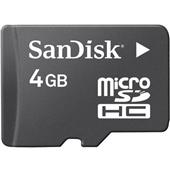 Sandisk MicroSDHC 4GB Card with SDHC Adapter