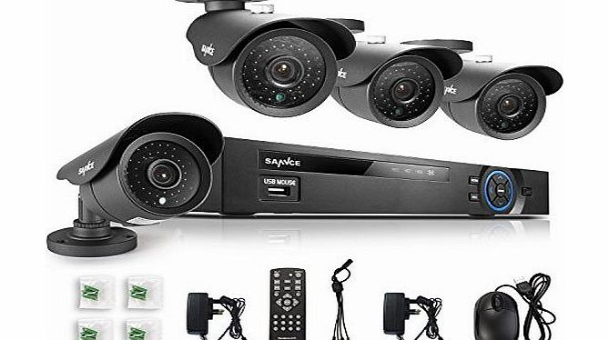 SANNCE 4CH HDMI Full 960H DVR Surveillance Kit with 4 800TVL Weatherproof Security Cameras System, Internet/ QR Code Scan Smartphone Access (NO HDD)