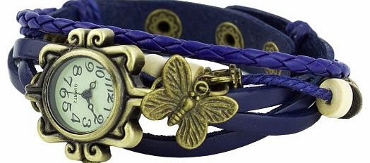 Womens Retro Bracelet Butterfly Decoration Quartz Wrist Watch Blue