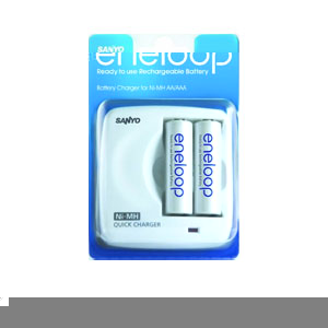 Eneloop Quick Battery Charger + 2 x AA Batteries