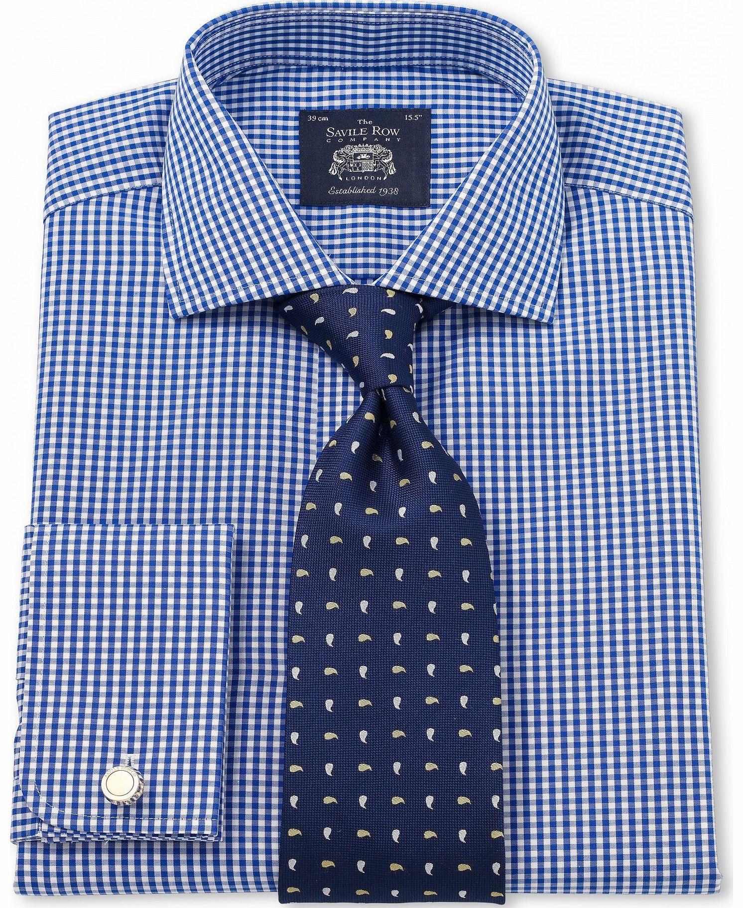 Savile row company blue white poplin gingham slim fit for Get company shirts made