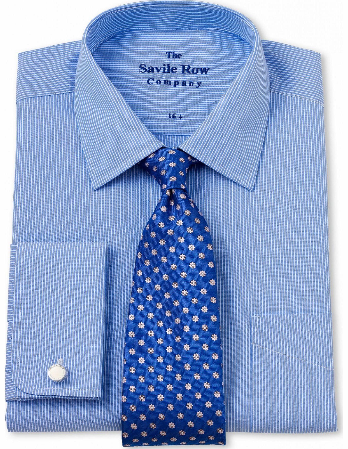 Savile Row Company Blue White Stripe Classic Fit Shirt 16