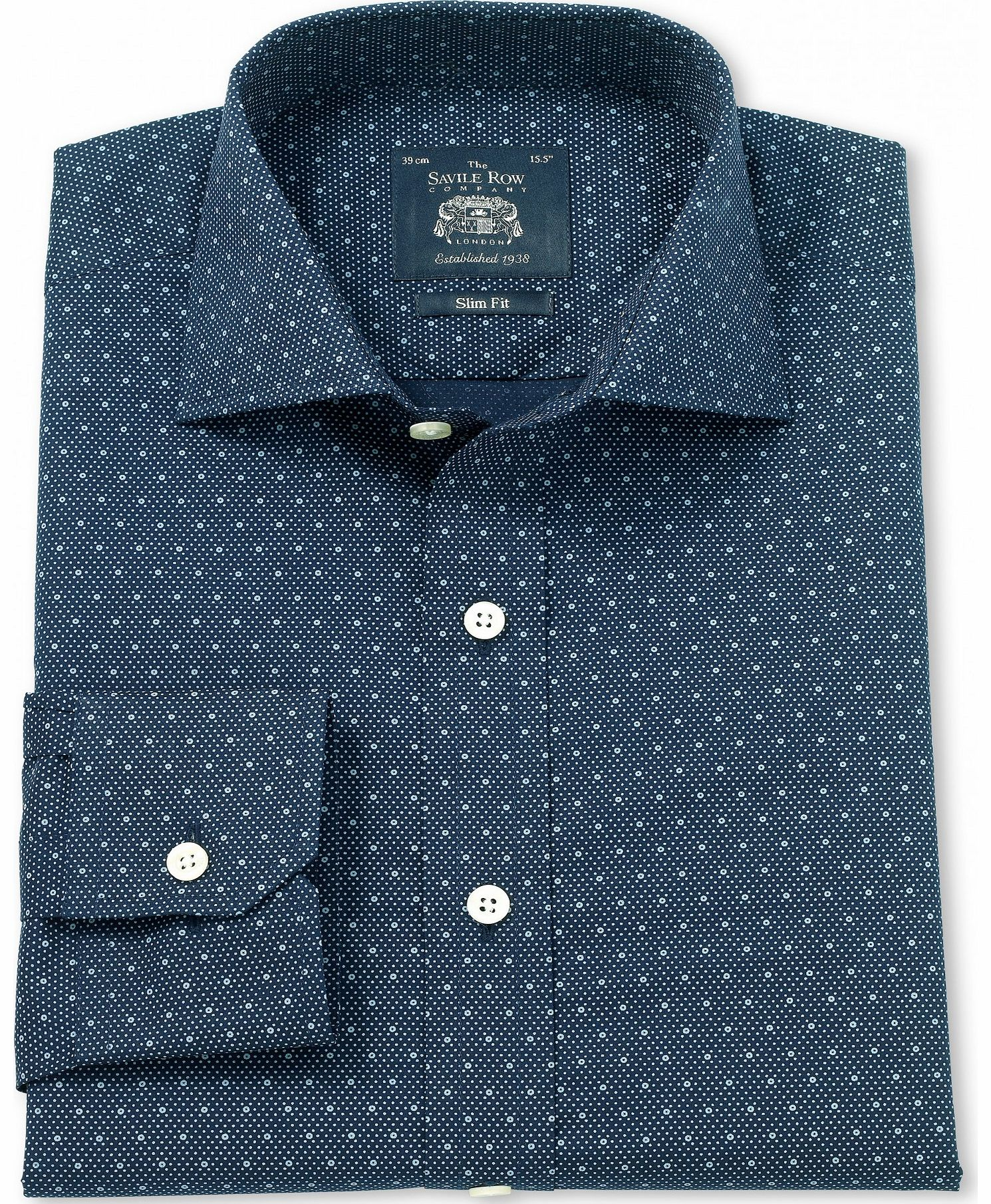 savile row company navy blue printed poplin slim fit shirt