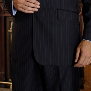 Savile Row Navy Chalk Stripe Suit Trousers