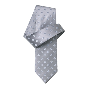 Silver Grey and Navy Flower Print Pure Silk Tie