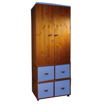 Stompa Combo Kids Natural 2 Door 4 Cube Wardrobe