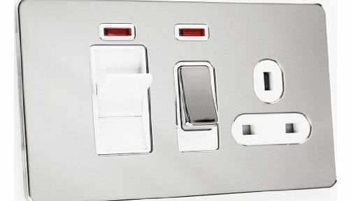 Schneider Electric Ultimate Screwless Flat Plate 45a DP Cooker Control Unit with Socket Polished Chrome White Insert