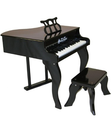 Schoenhut Piano Company Fancy Black Baby Grand Piano with Matching Bench