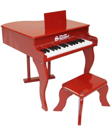 Fancy Red Baby Grand Piano with Matching Bench