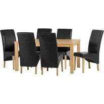 Belgravia Dining Set in Natural Oak with Black