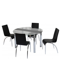 Chloe Extending Dining Set with Black Strip and
