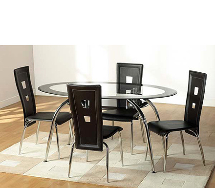 Clearance - Caravelle Oval Dining Set in Black