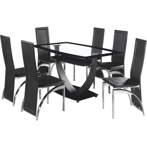 Henley Dining Set in Glass and Black