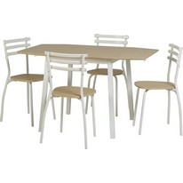 Langley Drop Leaf Dining Set in Beech and White