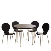 Roxanne High Gloss Round Dining Set in Black