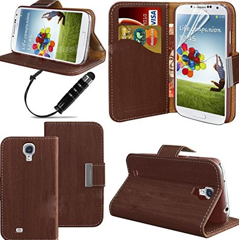 ® Samsung Galaxy S4 SIV I9500 Leather Flip Case Cover Wallet Pouch Wallet Phone Case Book Case Protective Cover, With Built in Stand With Free Screen Cover and Stylus in Wood effect Colours