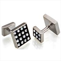Seven London Silver Square White Swarovski Crystal Cufflinks