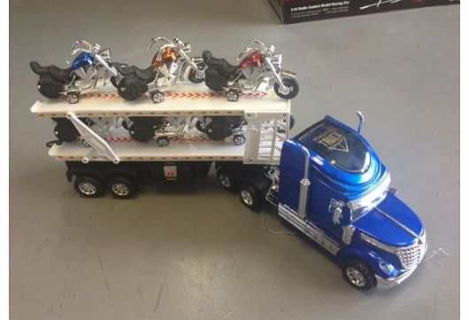 Super Truck model in blue with sound + light 1:24 scale included 6 motorbikes