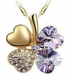 Swarovski Elements Crystal Four Leaf Clover Pendant Necklace 18`` Gold Chain in Lilac Purple