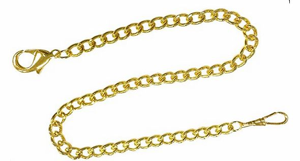 Pocket Watch Chain Gold Tone FOB Curb Link Design 14 inches by ShoppeWatch