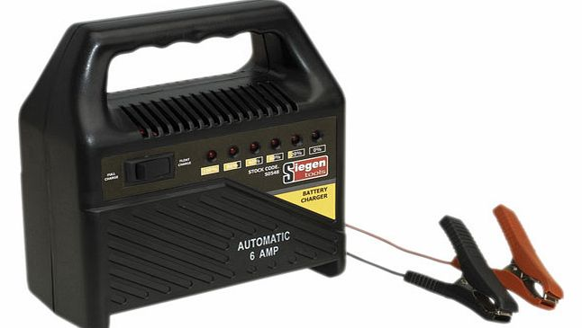 Siegen Tools Battery Charger 12v 6amp Automatic 230v S0548