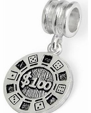 - Silver Bead - $100 Lucky Chip Casino Gambling Game Dice Money - 925 Sterling Charm 3D Slide On 679- Fits Pandora European Bracelet - Free Gift Boxed