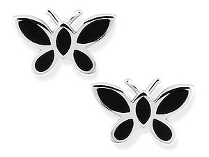 and Black Onyx Butterfly Earrings 060370