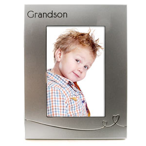 SILVER Heart Grandson 4 x 6 Photo Frame