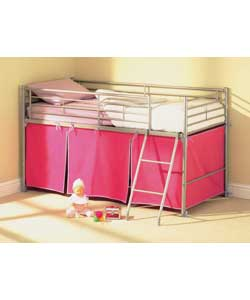 Mid Sleeper and Pink Tent with Sprung Mattress
