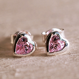 Pink Cubic Zirconia Heart Shaped Stud