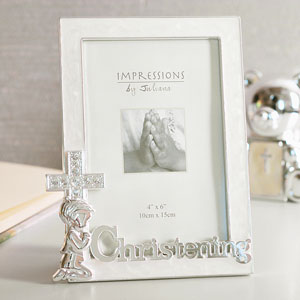 Plated Christening 4 x 6 Photo Frame