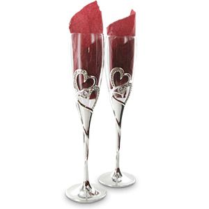 Plated Heart and Crystal Champagne Glasses