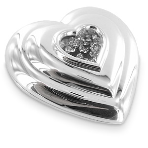 Plated Heart Shaped Compact Mirror