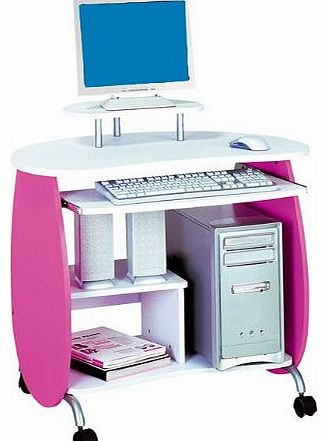 SixBros. Childrens Desk - Computer Desk - PC Workstation - Pink-White - Q-203A/72