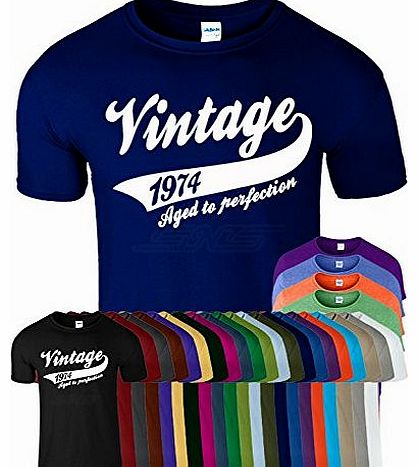 Mens Boys Womens Ladies Girls Unisex T-shirt Tee Top Cotton Vintage 1974 40th Birthday Present Gift T Shirt - Navy Blue - M - Chest : 38`` - 40``