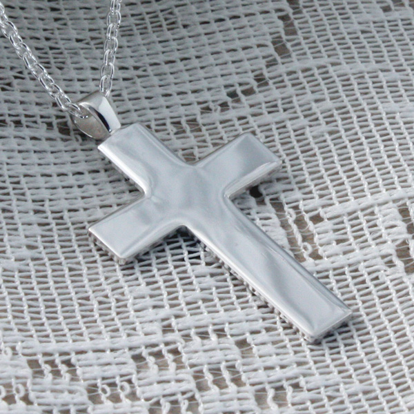Silver Cross Pendant in Personalised Box