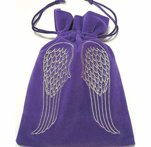 Luxury Purple Velvet Tarot/Oracle Card Bag with Drawstring and Angel Wings Design